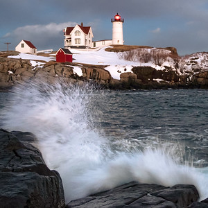 Wave Crash and The Nubble, Cape Neddick, York, Maine (21089-21093-sq)