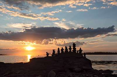 {for FLCC show}  Cairns at Sunset, Harpswell, Maine  (99493)
