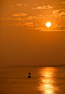 Hazy Sunset with a Lone Bell Buoy (6424)
