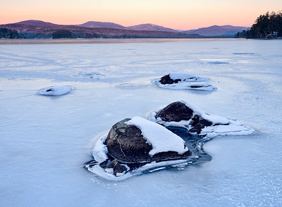 Frozen Sunrise, Wilson Lake, Wilton, Maine (88120-88122)