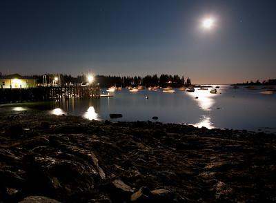 Wharf and Cove under a Full Moon, Owls Head, Maine (7703-7704)