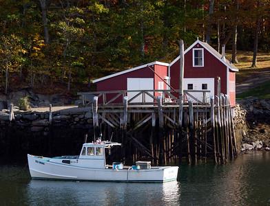 Lobster Boat, Pier and Barn, New Harbor, Bristol, Maine  (150625)