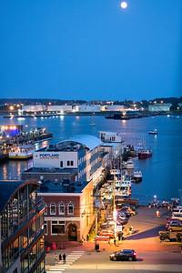 Portland Harbor and Full Moon, Portland, Maine  (49993)