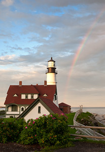 Rainbow and Portland Head Light, Cape Elizabeth, Maine (7117)