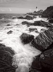 Incoming Wave, Portland Head Light, Cape Elizabeth, Maine  (79000 BW)