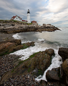 Swirling Waves and Portland Head Light, Cape Elizabeth, Maine (6990-6999)