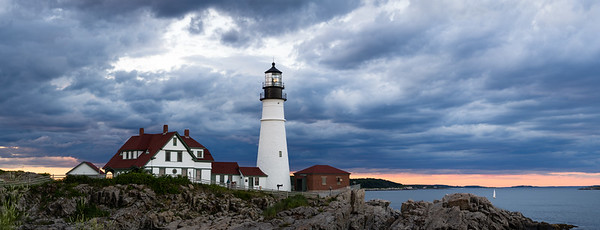 Portland Head Light and Dark Clouds at Dusk (98521-98533 PANO)