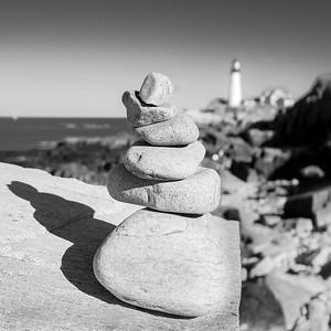 Cairn on Shore, Ft. Williams Park, Cape Elizabeth, Maine  (30063-BW)