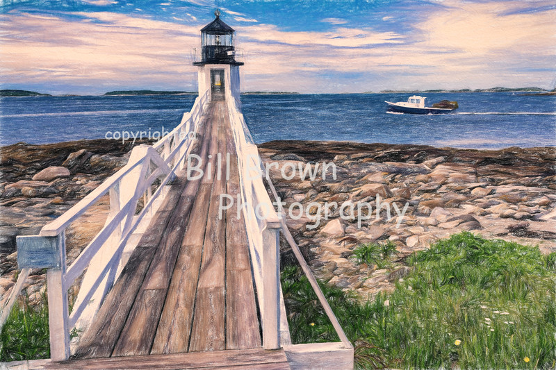 Lobster Boat Passing Marshall Point Light (colored pencil)