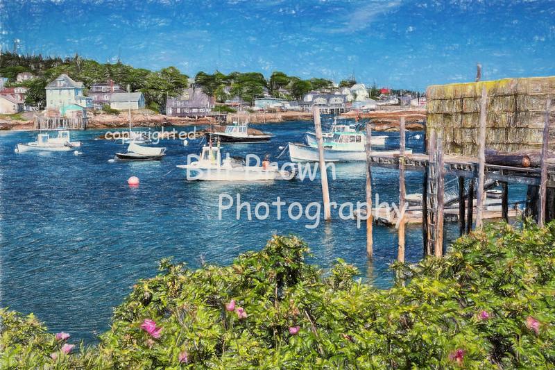 Stonington Harbor (colored pencil)