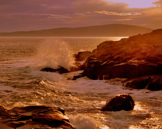 Crashing waves at Schoodic Point - Cadillac Mt. in background.