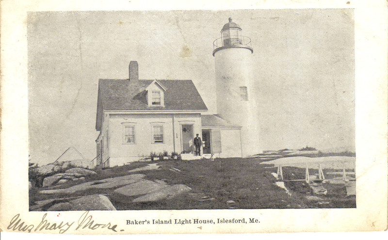 An old postcard view of the Baker Island Light when there were no trees to block the light.