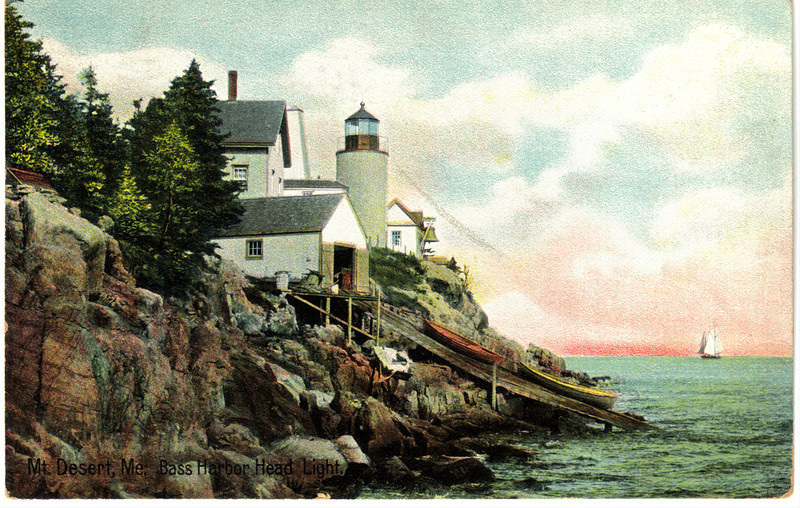 A old postcard view of the light station which shows the old boathouse which was in use.
