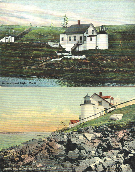 Old postcard views of Browns Head Light.