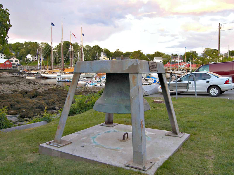 The Curtis Island Fog Bell is now on display in Camden's Harbor