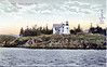 An old postcard view of the Curtis Island Light when it was sheathed in wood