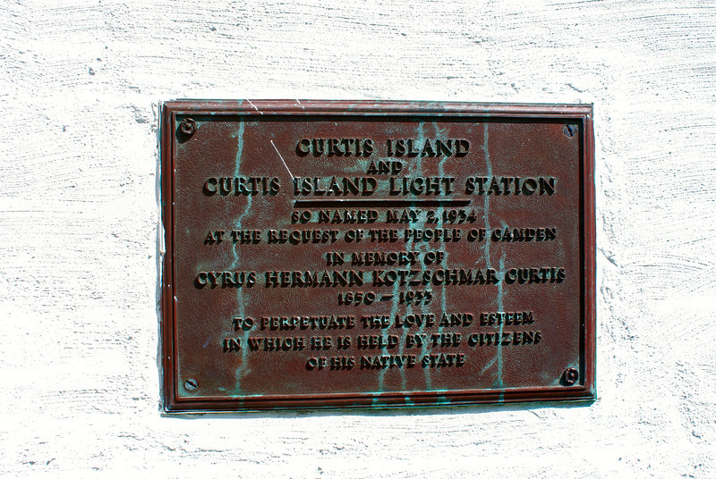 In 1934 the town petitioned the Lighthouse Service to change the name of the island and the lighthouse to Curtis Island to honor Cyrus Curtis. Curtis was the editor of the Saturday Evening Post and one of Camden's greatest benefactors who had passed away in 1933. The change was approved by the U.S Geographic Board. This plaque was placed at the entrance to the lighthouse.