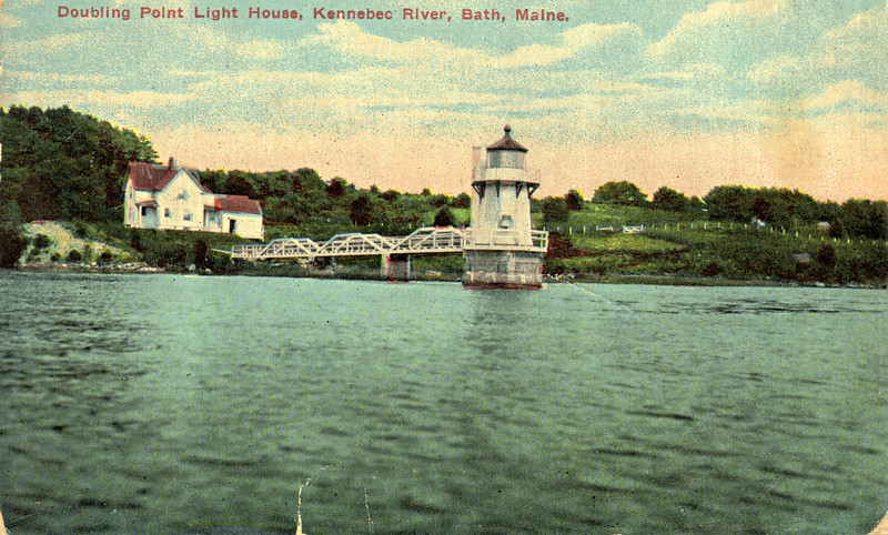 An old postcard view of the Lighthouse from the river. You can see the fog bell mounted on the tower and the weight assemby towards the rear of the tower.