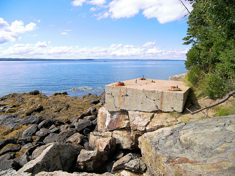 During the Depression as maritime traffic in the area decreased it was decided to decommission Dyce Head Lighthouse.  In 1937 the light was moved to a 27 foot skeleton tower on a concrete block 475 feet to the south of the old tower.  The Keepers house and 100 square feet of land were deeded to the Town of Castine.