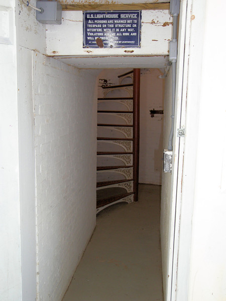 **Entryway into the tower** An 1843 inspection report during the tenure of Keeper Benjamin Harriman found the tower to be cracked and leaky with rotten woodwork and an unsafe tower stairway.  Harriman complained that water had to be carried over 1,000 feet to the dwelling for his family of seven.