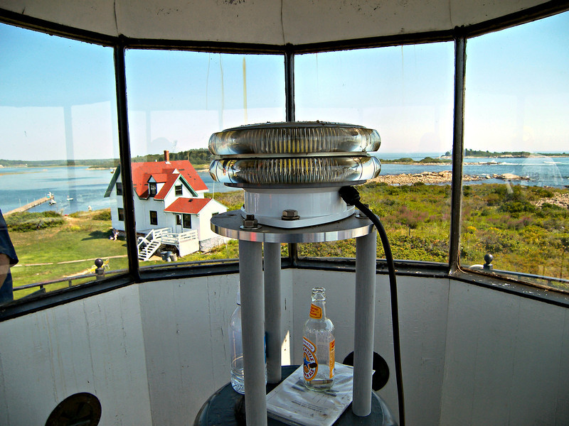 The intensity of the LED light is governed by the number of tiers it exhibits.  Goat Island for example uses a 2 tier light, as seen here.  A seacoast light like the Isle of Shoals (White Island) in New Hampshire uses an 8 tier light.