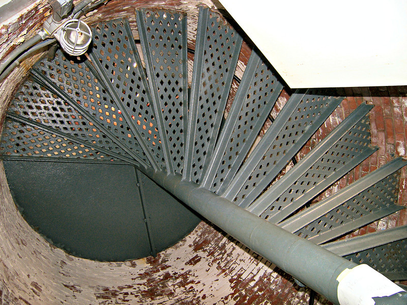 **Climbing the lighthouse steps** A Fifth Order Fresnel lens was used in the 1859 tower originally.  This lens was removed from the tower and replaced with a 300 mm optic in 1990.  In 2008 the current VLB-44 LED light was installed.