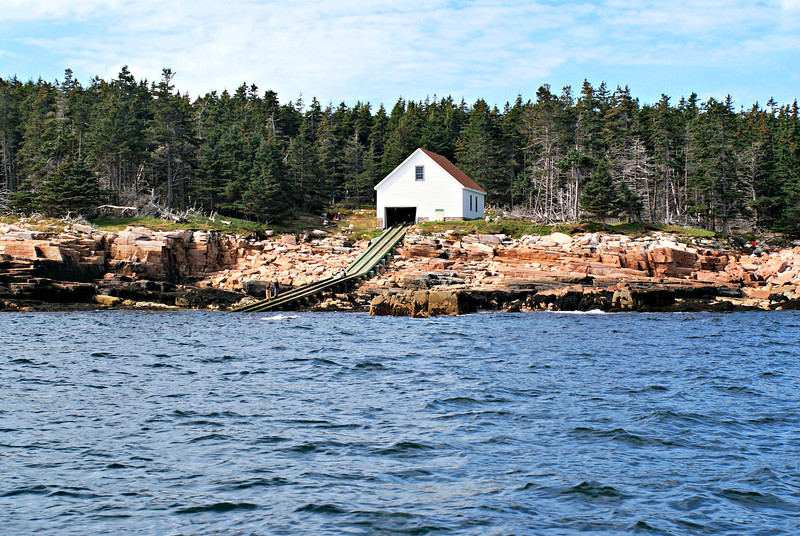 A boat house and slip were first erected on the eastern side of the island to land supplies and a 2,200 foot trail was built to the lighthouse site.  Landings on the island are particularly difficult and lighthouse keepers would be marooned on the island for weeks at a time.