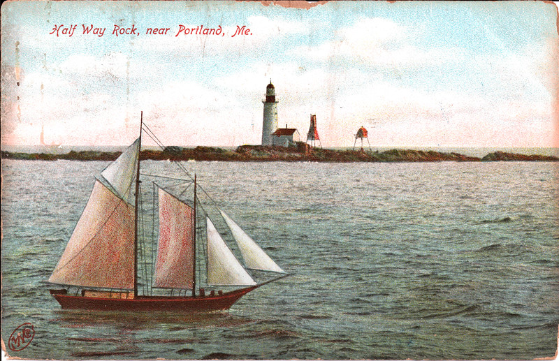 Old postcard view of the Halfway Rock Lighthouse