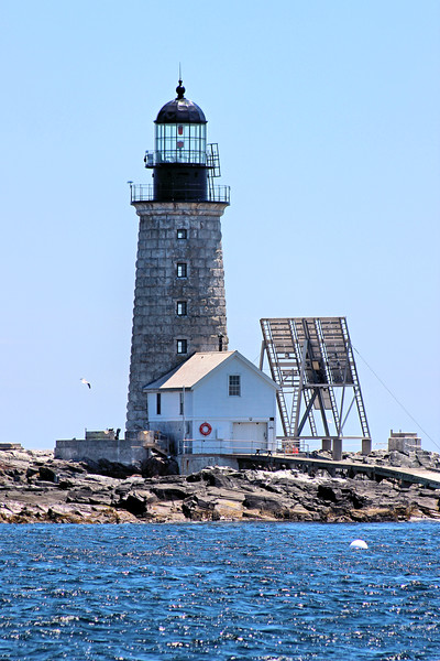 The lantern of the Halfway Rock Light was fitted with a 3rd Order flashing Fresnel lens.  The 1st Keeper assigned to the station was John T. Sterling from the famous Sterling family of lighthouse keepers.