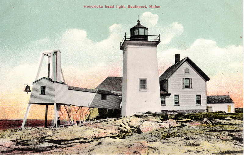 A turn of the century postcard view of the Hendricks Head Light showing the covered walkway to the bell tower.