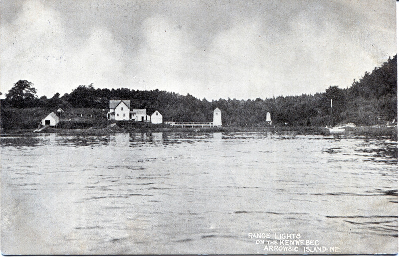 A turn of the century postcard view of the Kennebec River Range Lights.  Shown on the left is a boathouse which was built in 1901.