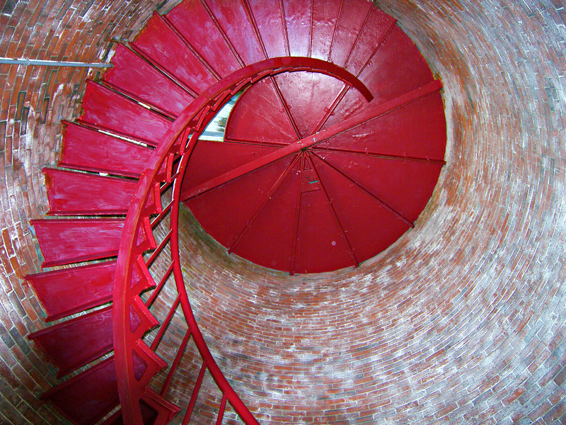 **Tower stairs** In the early 1980's the Coast Guard planned to tear down the tower and Keepers dwelling and sell the island.  Public outcry from the locals stopped these plans before they could be carried out.