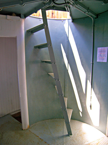 **Ladder into the lantern room** In 1998 the Maine Lights Program made the Little River Light Station available to a group who would step forward to care for the property.  No one expressed interest, and it appeared the Coast Guard would sell the property.  Finally in 2000, the American Lighthouse Foundation (ALF) asked to become steward of the station under the National Historic Lighthouse Preservation Act.