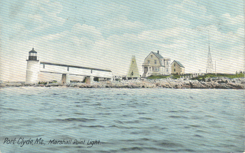 A turn of the century view of the Marshall Point Light Station.  The Bell Tower and Summer Kitchen are both visible in this view.