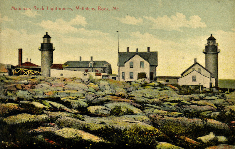 An old postcard view of the Matinicus Rock Lights