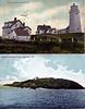Old post card views of the Monhegan Island Lighthouse and the Manana Island Fog Signal Station