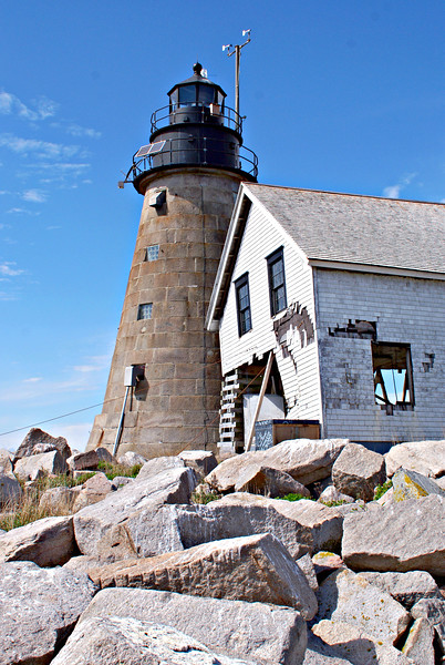 Due to the short stature of the light and the inadequate number of lamps in the lantern, Congress appropriated $15,000 in 1847 to have the lighthouse rebuilt.  The new tower of granite stone was designed by Alexander Parris who went on to design a number of granite light towers along Maine's coast: 1839 - Saddleback Ledge Lighthouse, Maine 1847 - Mount Desert Rock Lighthouse, 1848 - Libby Island Lighthouse, Machiasport, Maine, at the entrance to Machias Bay 1848 - Matinicus Rock Lighthouse, 6 miles south of Matinicus Island, Maine 1848 - Whitehead Island Lighthouse, Whitehead Island, Maine—southern entrance to Penobscot Bay 1850 - Monhegan Island Lighthouse, Monhegan Island, Maine
