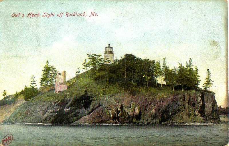 A turn of the century view of Owls Head Light from a postcard.