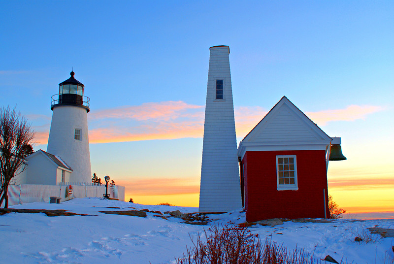 The light at Pemaquid was originally built during the presidency of John Quincy Adams, in 1827, at a cost of $2,800.  A rubblestone tower and a twenty by thirty-four-foot stone keepers dwelling were erected by mason Jeremiah Berry of nearby Thomaston, Maine.