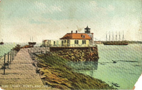 An old postcard view of the Portland Breakwater Light showing the odd Keepers House that hung over the sides of the breakwater.