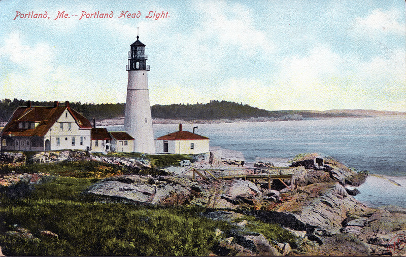 A turn of the century view of the Portland Head Lighthouse in Fort Williams
