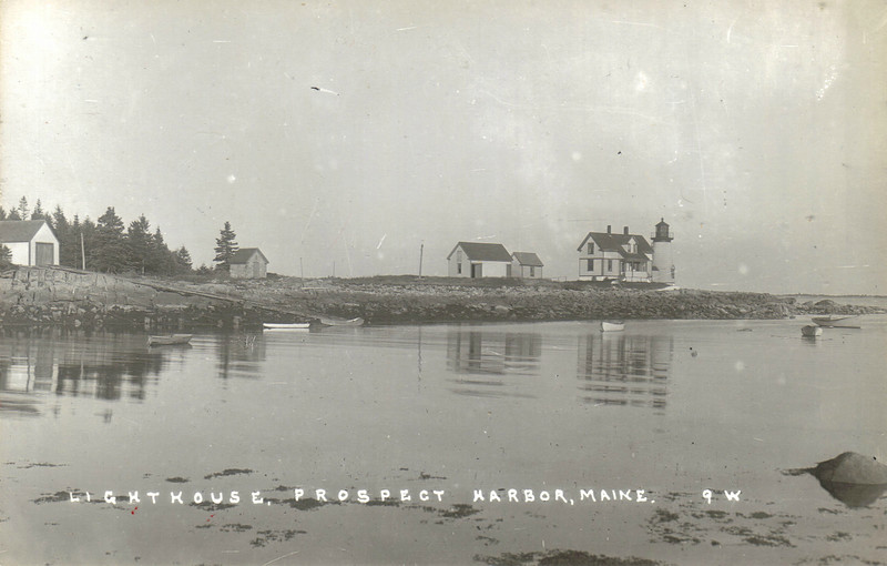 An old postcard view of the Prospect Harbor Light Station