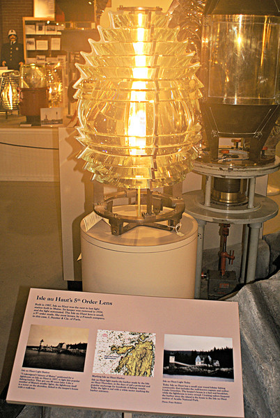 The light was originally equipped with a Fifth Order Fresnel lens. The lens is now on display at the Maine Lighthouse Museum in Rockland.  The current light source is a solar-powered 250 mm optic.