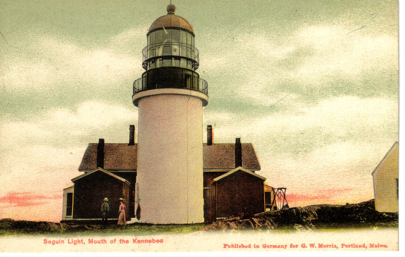 An old postcard view of the Seguin Island Lighthouse