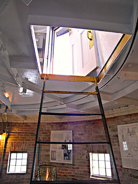 The watch room housed the fog bell machinery and tools for tending the light.