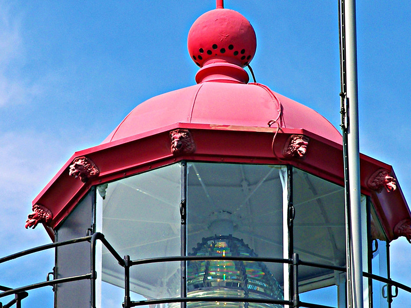 In 2004 the Coast Guard had repairs made to the lantern.  Corroded parts were replaced and the lantern was repainted.  Drain spouts in the shape of gargoyles which were part of the original lantern were recast and installed.