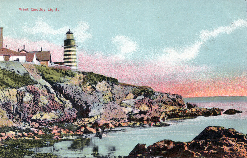 An old postcard view of the West Quoddy Head Light Station