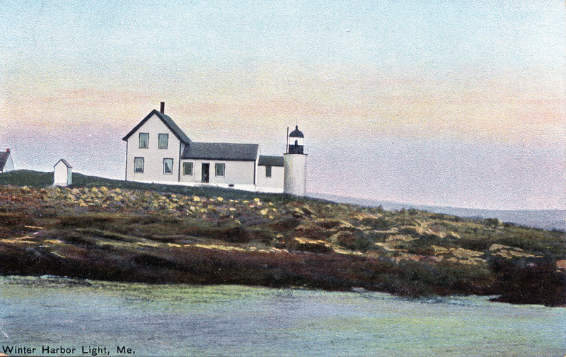 Old postcard view of the Winter Harbor Lighthouse