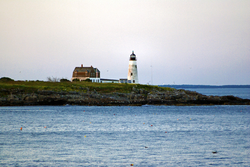 You can also view the Lighthouse from an Audubon Society walking trail next to a golf course in Biddeford Pool (this picture was taken from that trail).  Restoration has been ongoing with the restoration of the front porch and replacement of the windows in the Keepers House in recent years.