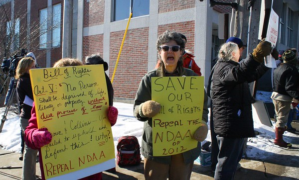 12.02.03 Demonstration against the National Defense Authorization Act at  US Senator Olympia Snowe's office in Augusta